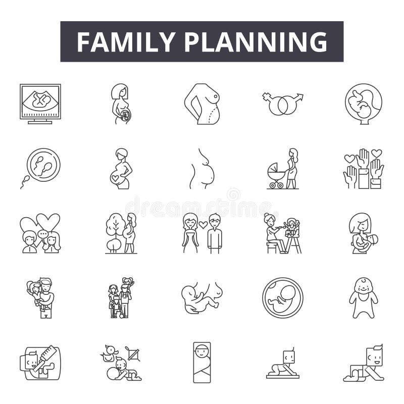 Linha ícones do planeamento familiar, sinais, grupo do vetor, conceito da ilustração do esboço ilustração stock