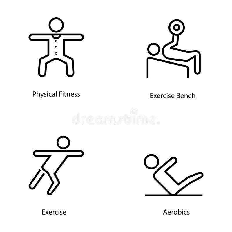 Linha ícones do plano do exercício e da dieta ilustração do vetor