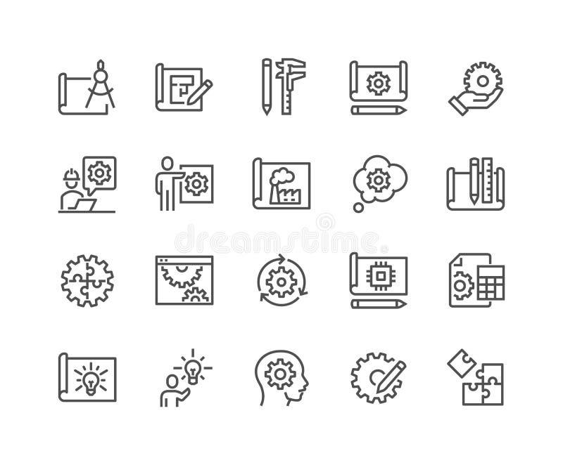 Linha ícones do projeto de engenharia ilustração royalty free