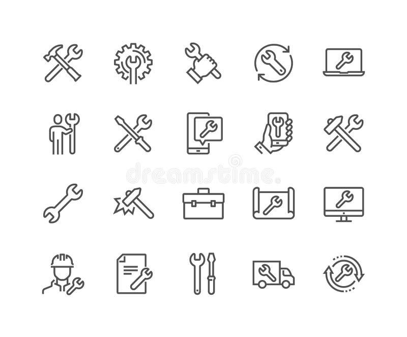 Linha ícones do reparo ilustração royalty free
