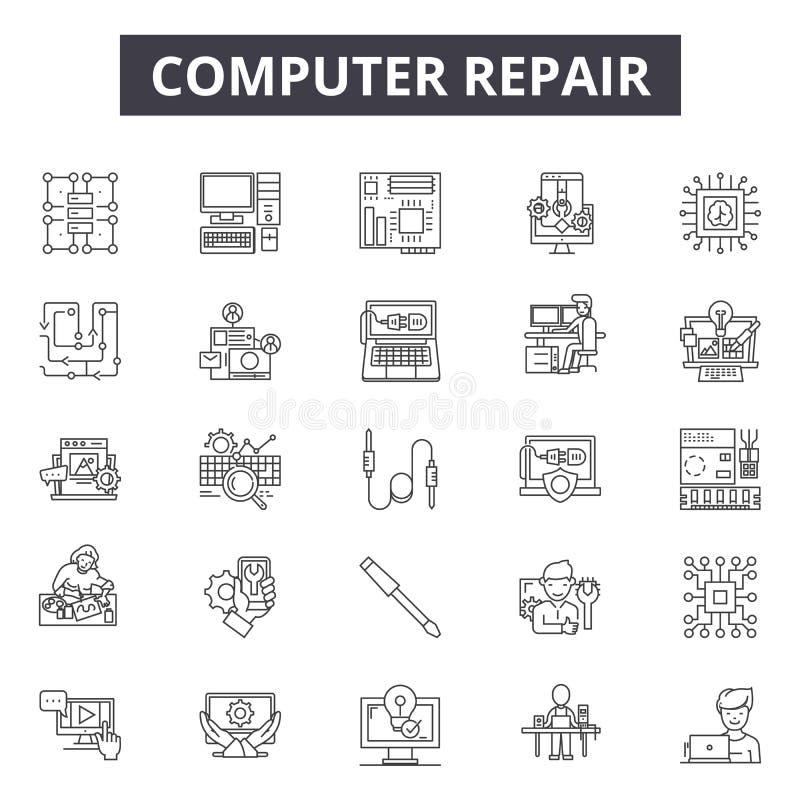 Linha ícones do reparo do computador para a Web e o projeto móvel Sinais editáveis do curso Conceito do esboço do reparo do compu ilustração royalty free