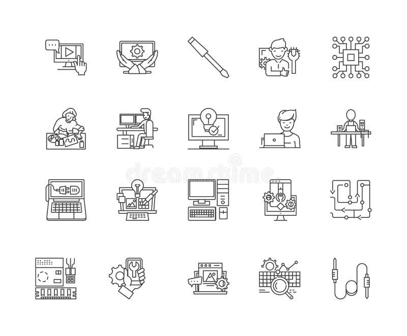 Linha ícones do reparo do computador, sinais, grupo do vetor, conceito da ilustração do esboço ilustração royalty free