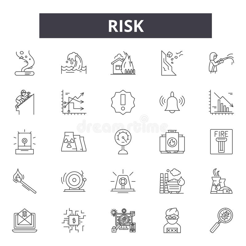 Linha ícones do risco, sinais, grupo do vetor, conceito linear, ilustração do esboço ilustração do vetor