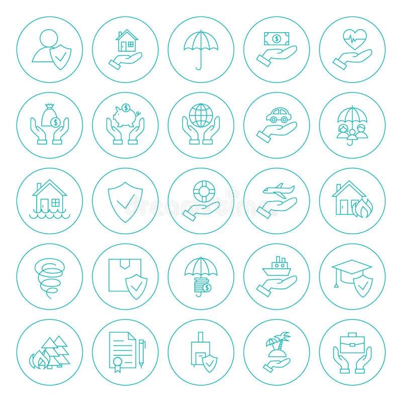 Linha ícones do seguro do círculo ajustados ilustração royalty free