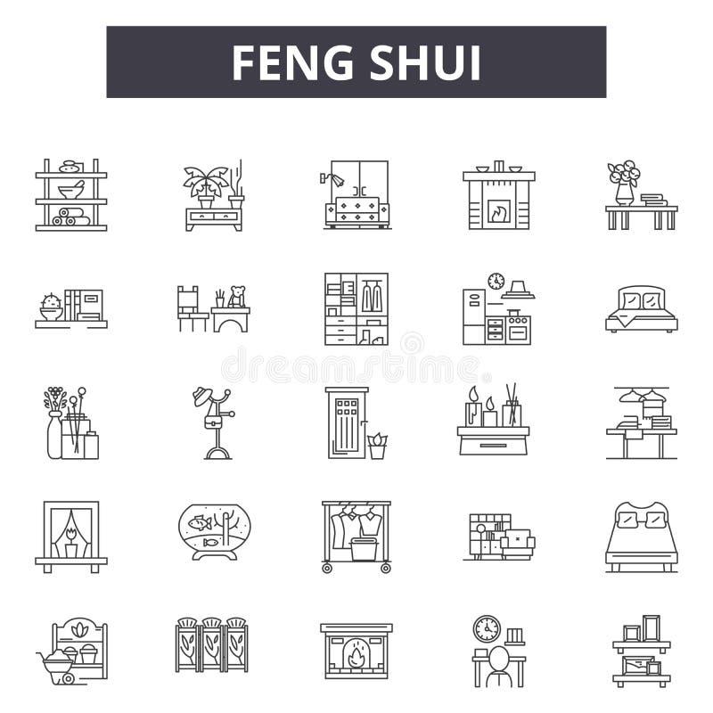 Linha ícones do shui de Feng para a Web e o projeto móvel Sinais editáveis do curso Ilustrações do conceito do esboço do shui de  ilustração do vetor