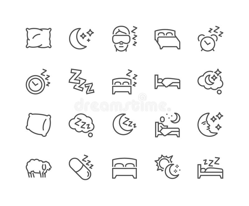 Linha ícones do sono ilustração stock
