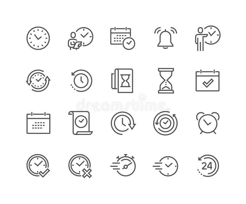 Linha ícones do tempo ilustração do vetor