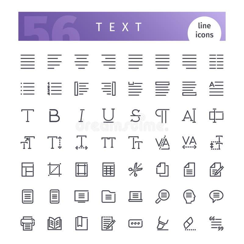 Linha ícones do texto ajustados ilustração royalty free