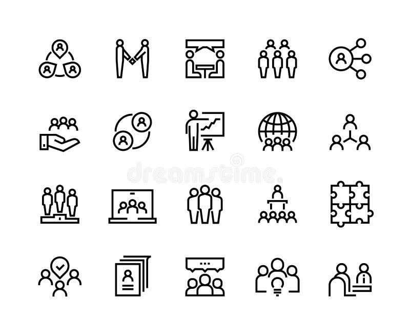 Linha ícones do trabalho da equipe O grupo da pessoa do negócio trabalha a liderança humana dos trabalhos de equipe do apoio que  ilustração do vetor