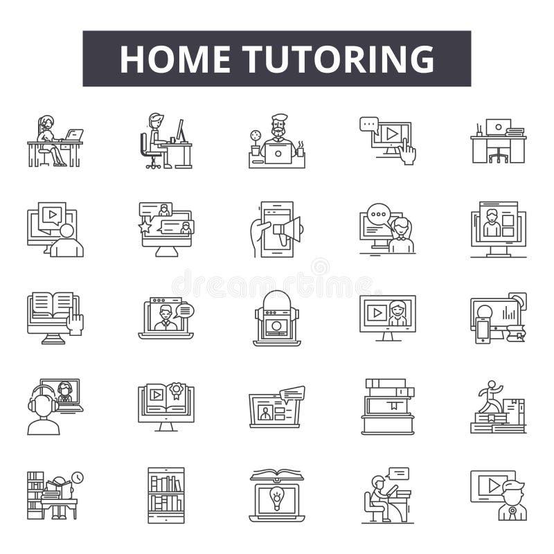 Linha ícones do tutoria da casa, sinais, grupo do vetor, conceito linear, ilustração do esboço ilustração stock