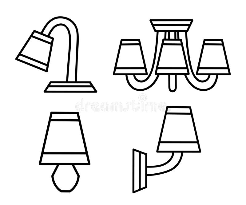 Linha ícones do vetor com os vários candelabros modernos Pictograma do projeto simples ilustração do vetor