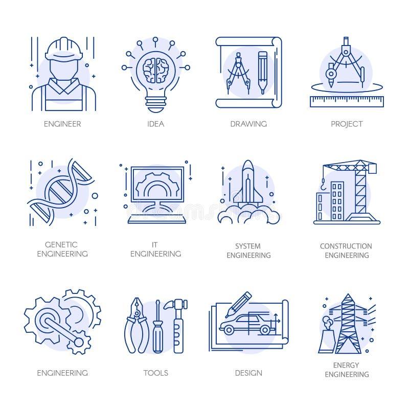 Linha ícones do vetor da tecnologia energética da construção da engenharia ajustados ilustração royalty free