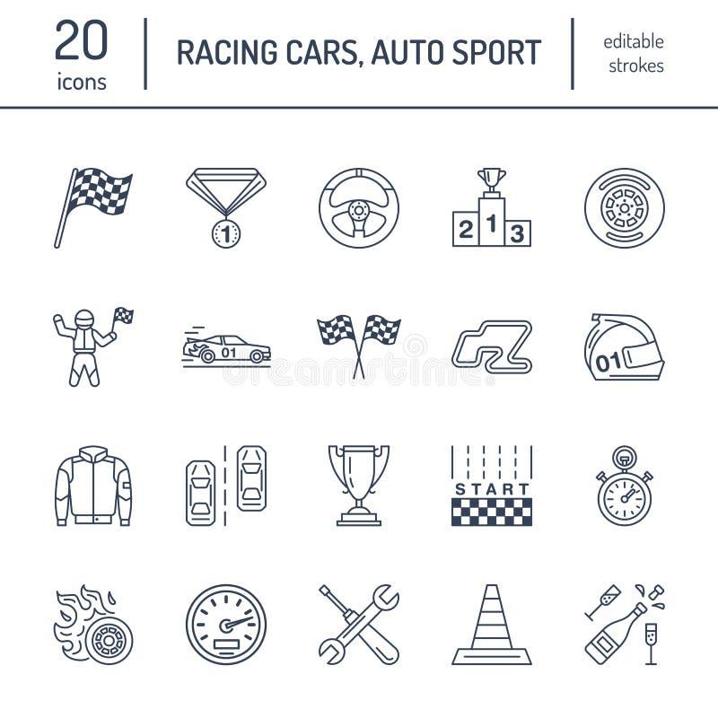 Linha ícones do vetor das corridas de carros Apresse auto sinais do campeonato - trilha, automóvel, piloto, capacete, bandeiras d ilustração stock