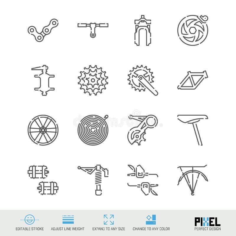 Linha ícones do vetor das peças sobresselentes da bicicleta ajustados Loja da bicicleta, manutenção e símbolos lineares do reparo ilustração stock