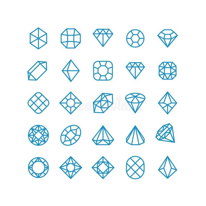 Linha ícones do vetor do diamante Pictograma brilhantes da joia da mulher Símbolos do vetor da riqueza ilustração do vetor