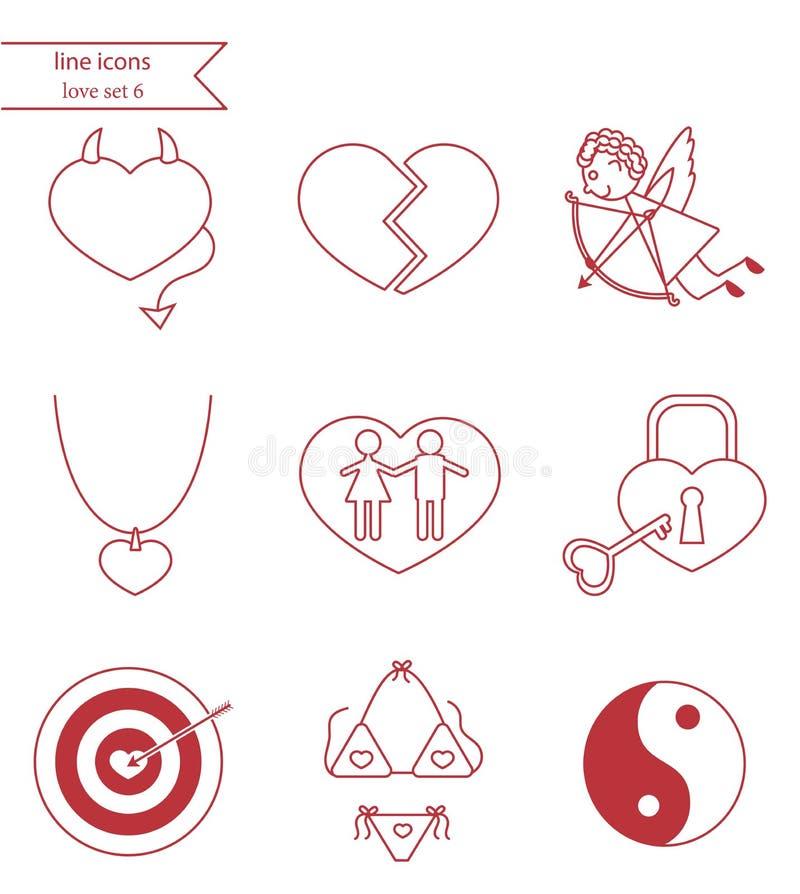 Linha ícones do vetor do estilo O amor ajustou 6 ilustração stock
