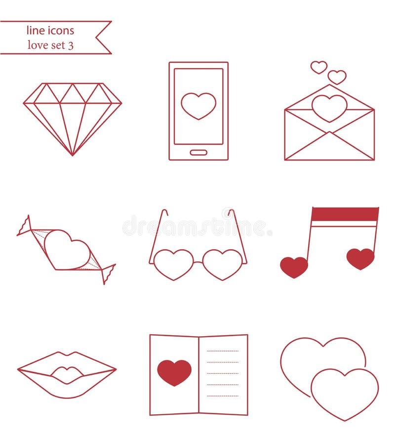 Linha ícones do vetor do estilo O amor ajustou 3 ilustração royalty free