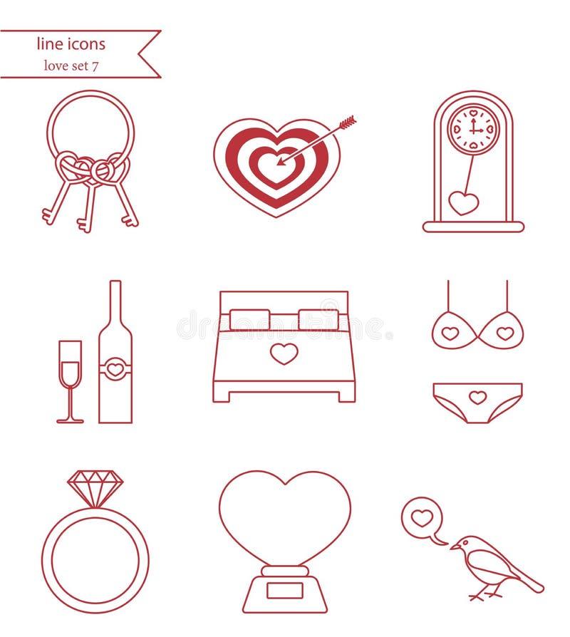 Linha ícones do vetor do estilo O amor ajustou 7 ilustração do vetor