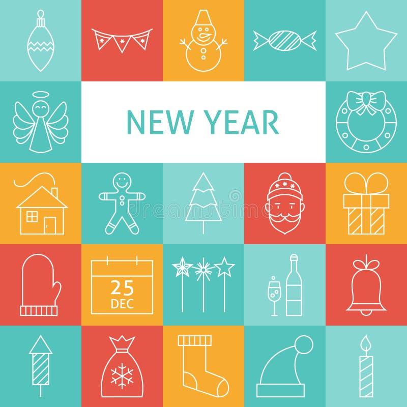 Linha ícones do vetor do feriado de Art Modern Happy New Year ajustados ilustração royalty free