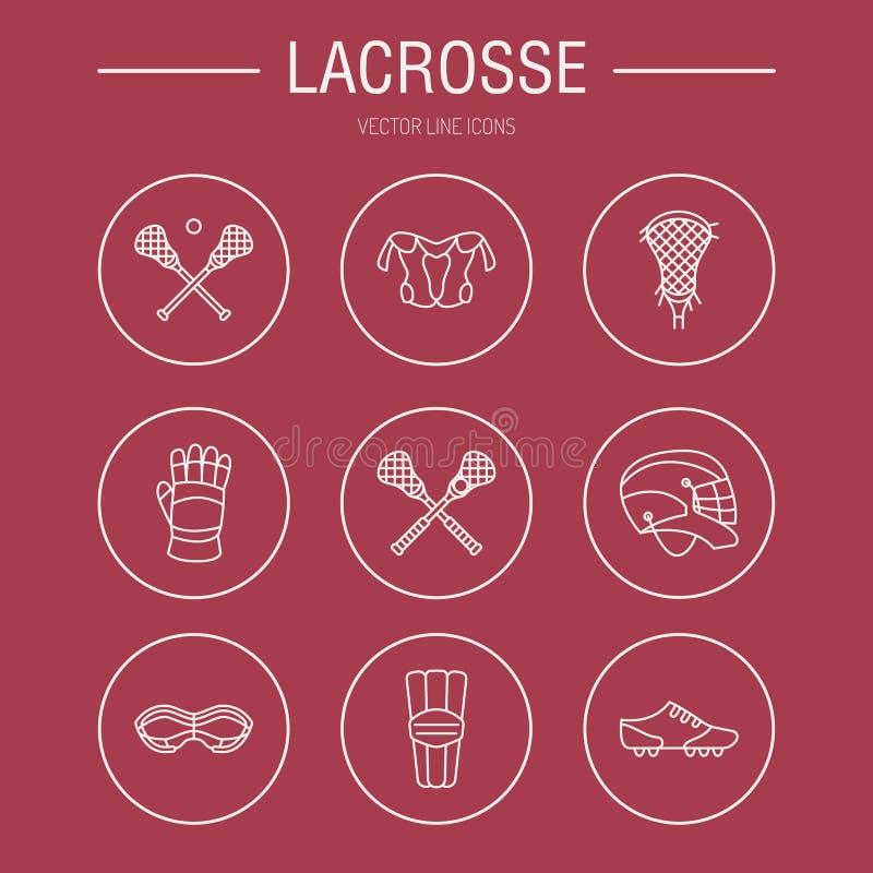 Linha ícones do vetor do jogo do esporte da lacrosse Bola, vara, capacete, luvas, óculos de proteção das meninas Sinais lineares  ilustração royalty free