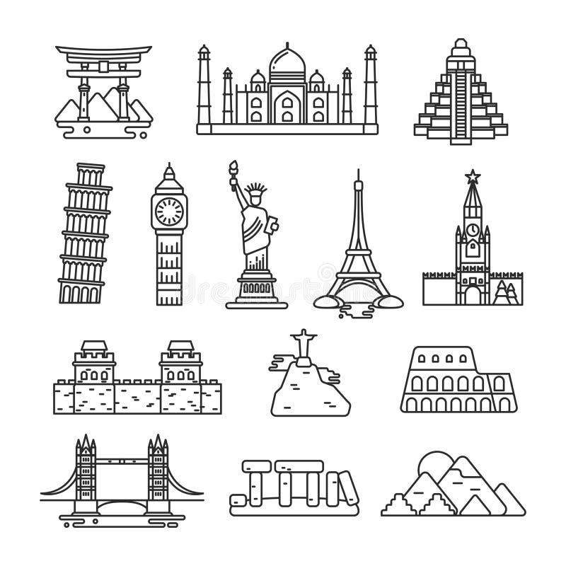 Linha ícones do vetor do marco do país internacional ilustração royalty free
