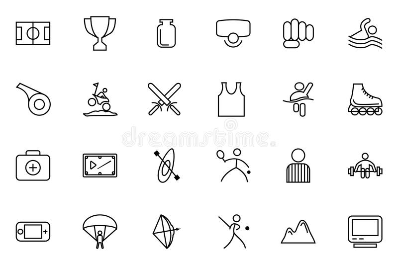 Linha ícones 3 do vetor dos esportes ilustração royalty free