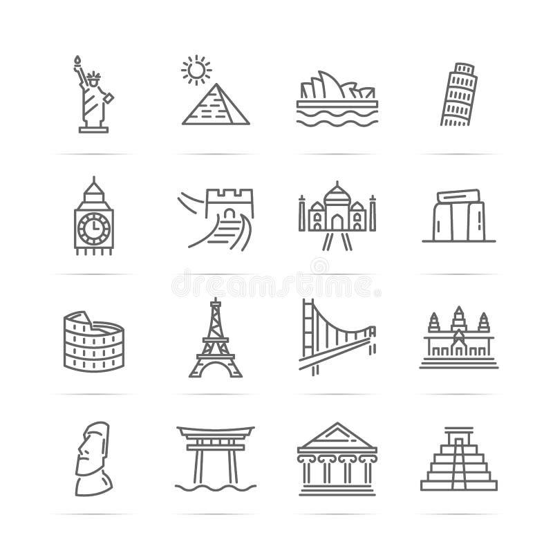 Linha ícones do vetor dos marcos do mundo ilustração stock