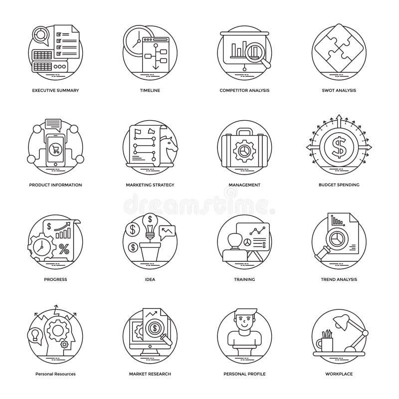 Linha ícones 6 do vetor do negócio ilustração do vetor