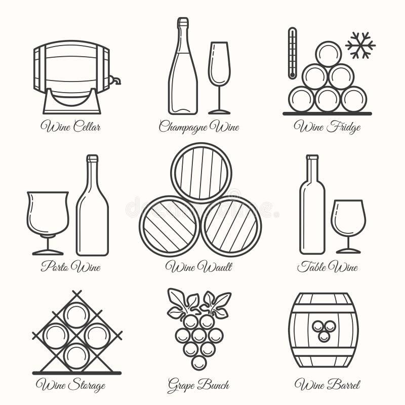 Linha ícones do vinho ilustração stock