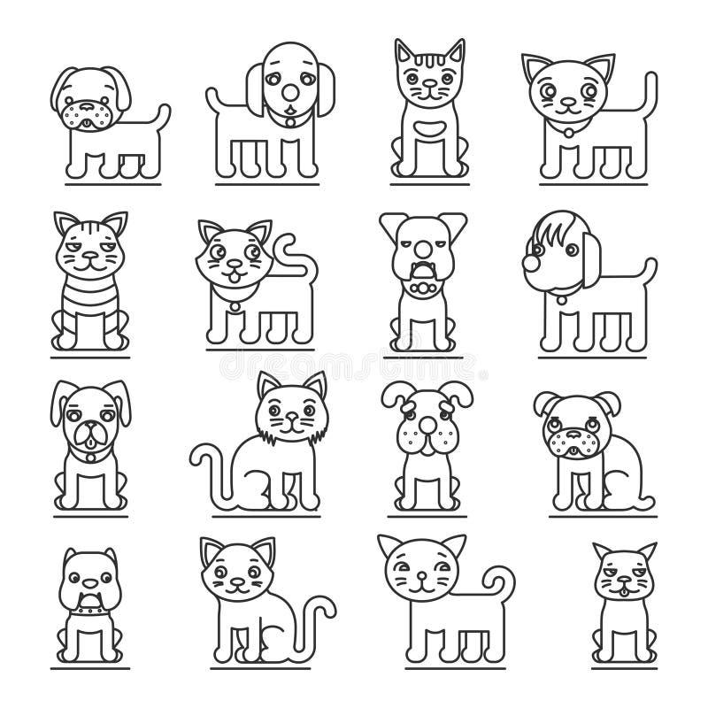 Linha ícones dos animais de estimação O esboço dos cães e gato assina o vetor ilustração royalty free