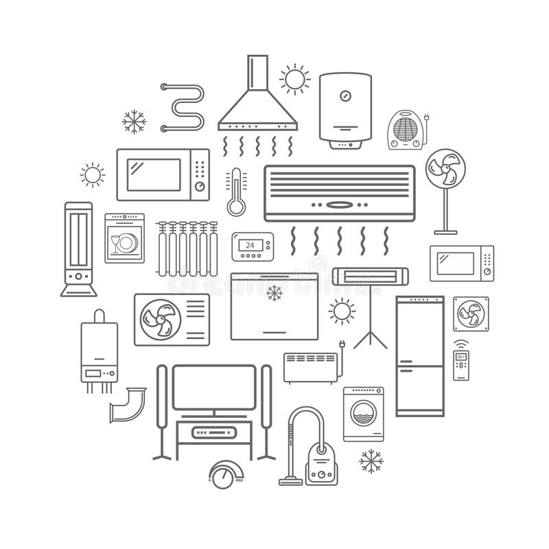 Linha ícones dos aparelhos eletrodomésticos ilustração royalty free