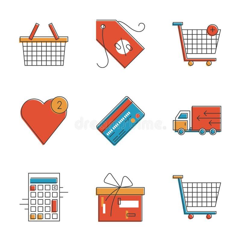 Linha ícones dos artigos da compra ajustados ilustração royalty free