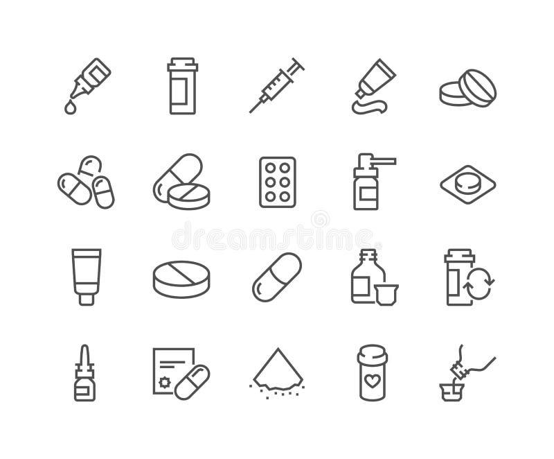 Linha ícones dos comprimidos ilustração royalty free