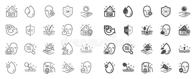 Linha ícones dos cuidados com a pele Grupo de gota do creme, do soro e de gel ou de loção da cara Vetor ilustração royalty free