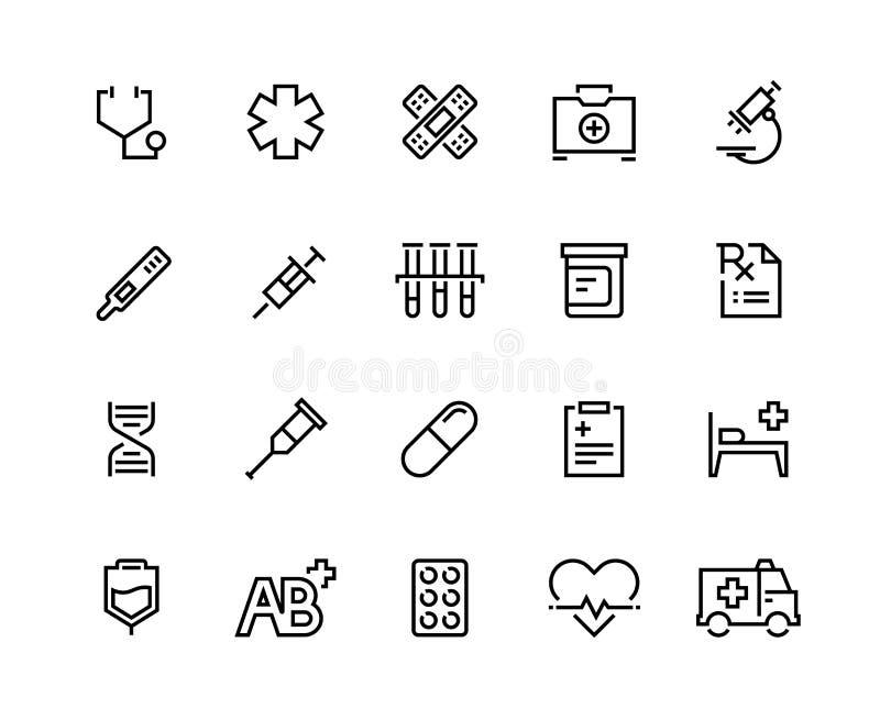 Linha ícones dos cuidados médicos Cuidados médicos da família, tratamento paciente, seguro médico, cirurgia da cardiologia Equipa ilustração royalty free