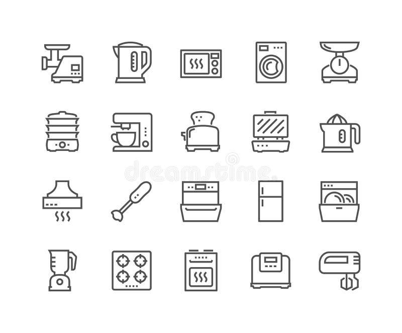 Linha ícones dos dispositivos de cozinha ilustração stock