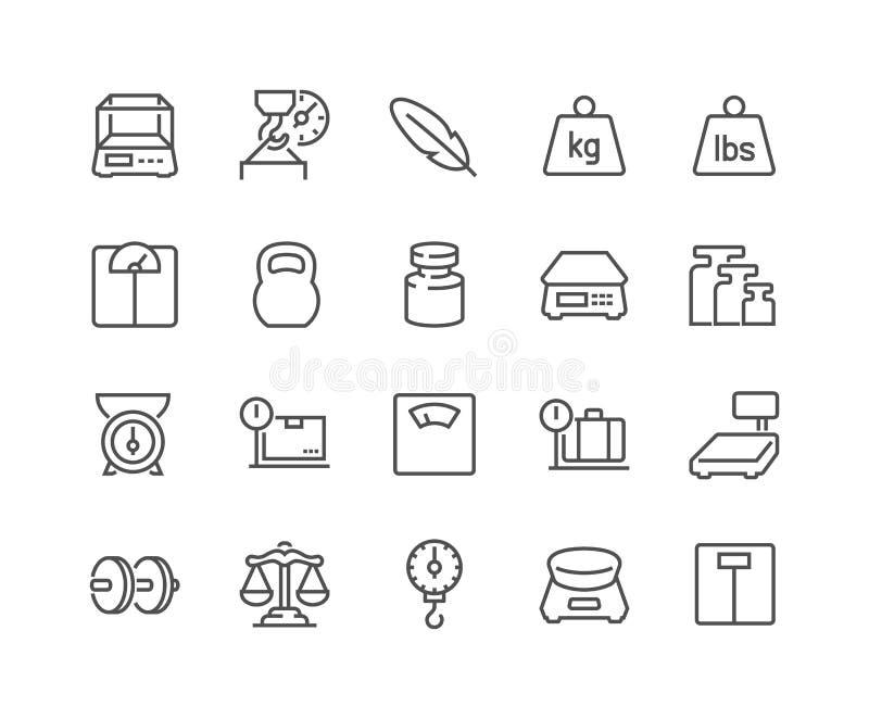 Linha ícones dos ícones do peso ilustração royalty free