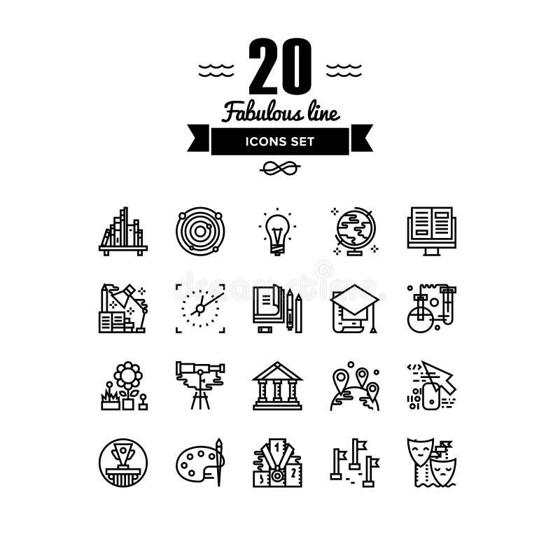 Linha ícones dos elementos da educação ajustados ilustração stock