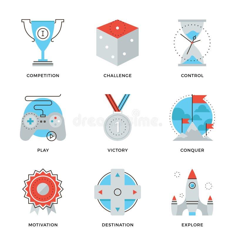 Linha ícones dos elementos da liderança ajustados ilustração royalty free