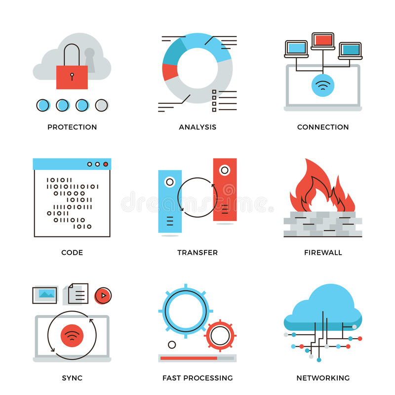 Linha ícones dos elementos da rede e da conexão ajustados ilustração royalty free
