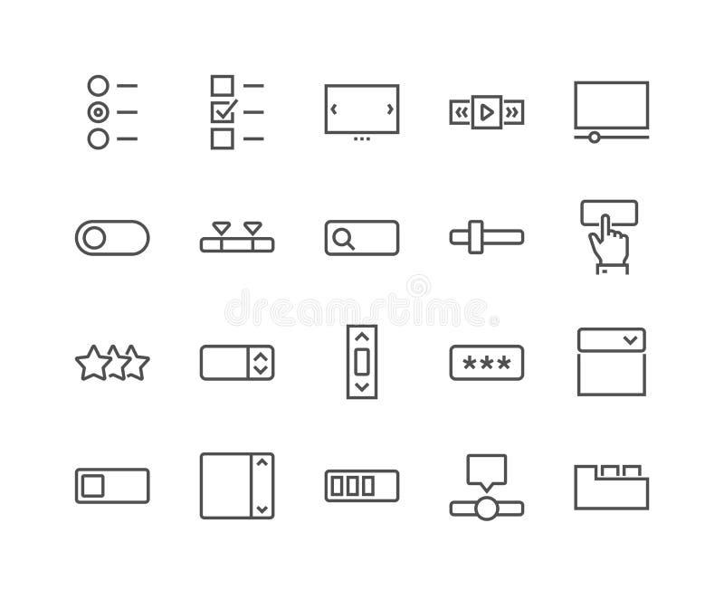 Linha ícones dos elementos de UI ilustração do vetor