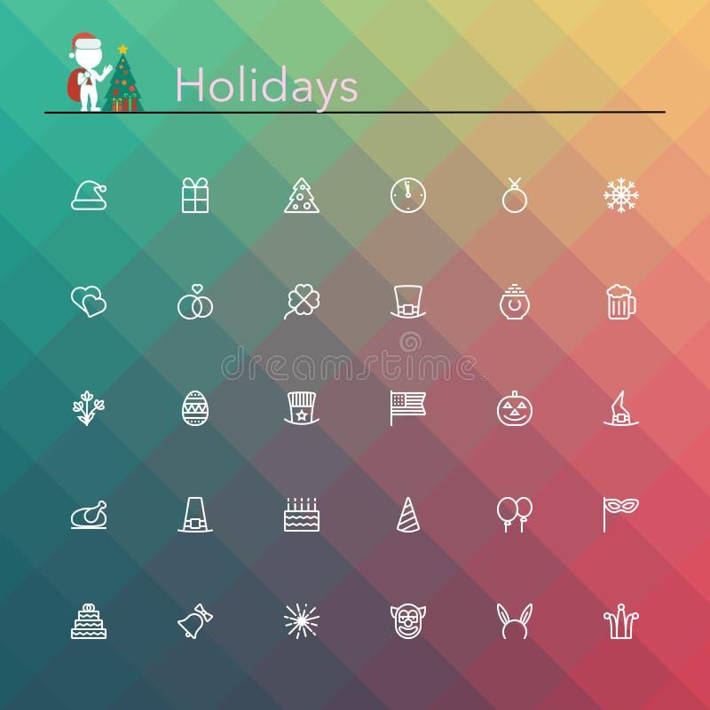 Linha ícones dos feriados ilustração do vetor