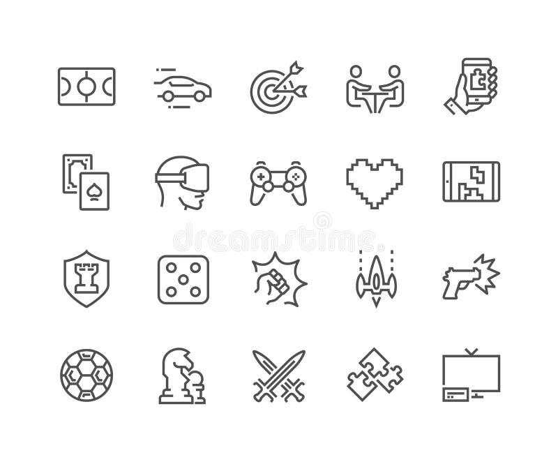 Linha ícones dos jogos ilustração stock