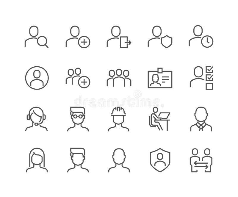 Linha ícones dos usuários ilustração do vetor