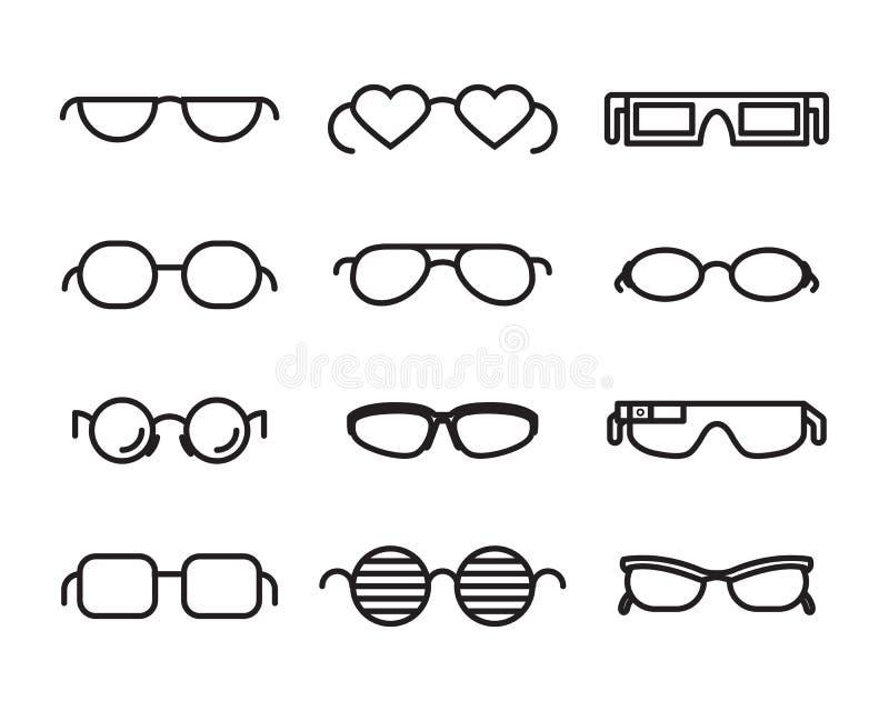 Linha ícones dos vidros ilustração royalty free