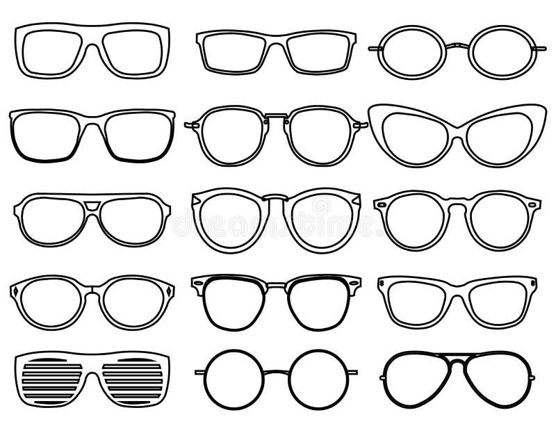 Linha ícones dos vidros Vista o monóculo da forma, sunglass óticos do projeto, objeto acessório, ilustração do vetor ilustração do vetor