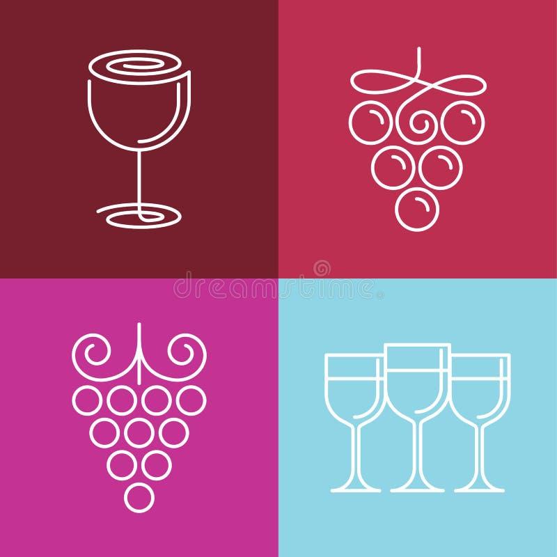 Linha ícones e logotipos do vinho do vetor ilustração do vetor