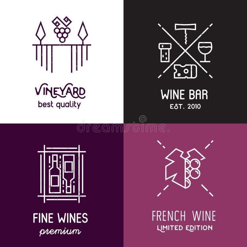 Linha ícones e logotipos do vinho do vetor ilustração stock
