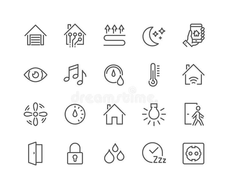 Linha ícones espertos da casa ilustração stock