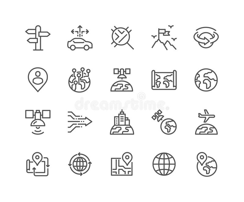 Linha ícones globais da navegação ilustração do vetor